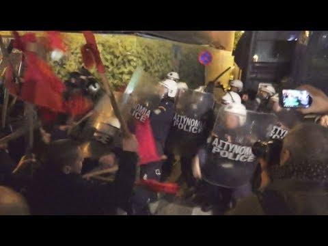 Ένταση στην πορεία ενάντια στην καγκελάριο Μέρκελ στο κέντρο της Αθήνας