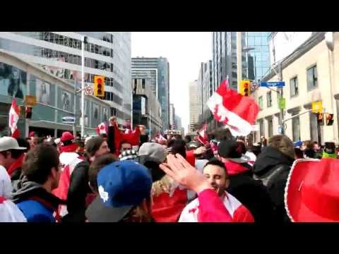 Toronto celebrating Canada's 2014 Olympics men's hockey gold medal win