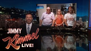 "A story from our ABC affiliate in Miami came to light about a family that got a very strange frozen sausage delivery on their roof in the middle of the night. Obviously Jimmy had to get to the bottom of this so we tracked the family down to join us and find out what really happened.Caitlyn Jenner on Late Night Talk Show Hosts Teasing Bruce Jenner https://youtu.be/luSk8C9VhbwSUBSCRIBE to get the latest #KIMMEL: http://bit.ly/JKLSubscribeWatch Mean Tweets: http://bit.ly/KimmelMT10Connect with Jimmy Kimmel Live Online:Visit the Jimmy Kimmel Live WEBSITE: http://bit.ly/JKLWebsiteLike Jimmy Kimmel on FACEBOOK: http://bit.ly/KimmelFBLike Jimmy Kimmel Live on FACEBOOK: http://bit.ly/JKLFacebookFollow @JimmyKimmel on TWITTER: http://bit.ly/KimmelTWFollow Jimmy Kimmel Live on TWITTER: http://bit.ly/JKLTwitterFollow Jimmy Kimmel Live on INSTAGRAM: http://bit.ly/JKLInstagramAbout Jimmy Kimmel Live:Jimmy Kimmel serves as host and executive producer of Emmy-winning ""Jimmy Kimmel Live,"" ABC's late-night talk show. ""Jimmy Kimmel Live"" is well known for its huge viral video successes with 5.6 billion views on YouTube alone. Some of Kimmel's most popular comedy bits include - Mean Tweets, Lie Witness News, Jimmy's Twerk Fail Prank, Unnecessary Censorship, YouTube Challenge, The Baby Bachelor, Movie: The Movie, Handsome Men's Club, Jimmy Kimmel Lie Detective and music videos like ""I (Wanna) Channing All Over Your Tatum"" and a Blurred Lines parody with Robin Thicke, Pharrell, Jimmy and his security guard Guillermo. Now in its fifteenth season, Kimmel's guests have included: Johnny Depp, Meryl Streep, Tom Cruise, Halle Berry, Harrison Ford, Jennifer Aniston, Will Ferrell, Katy Perry, Tom Hanks, Scarlett Johansson, Channing Tatum, George Clooney, Larry David, Charlize Theron, Mark Wahlberg, Kobe Bryant, Steve Carell, Hugh Jackman, Kristen Wiig, Jeff Bridges, Jennifer Garner, Ryan Gosling, Bryan Cranston, Jamie Foxx, Amy Poehler, Ben Affleck, Robert Downey Jr., Jake Gyllenhaal, Oprah, and unfortunately Matt Damon.Jimmy Kimmel Interviews Family Attacked by Mystery Sausagehttps://youtu.be/TC5s5tvucbE"