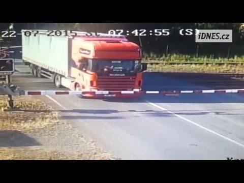 Truck vs train. Railroad crossing accident in Studenka, Czech Republic
