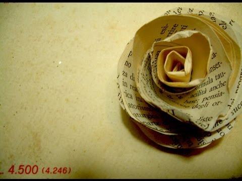 ROSA VINTAGE ♥ Roselline di carta con pagine di vecchi libri ingialliti ♥ Riciclo Creativo