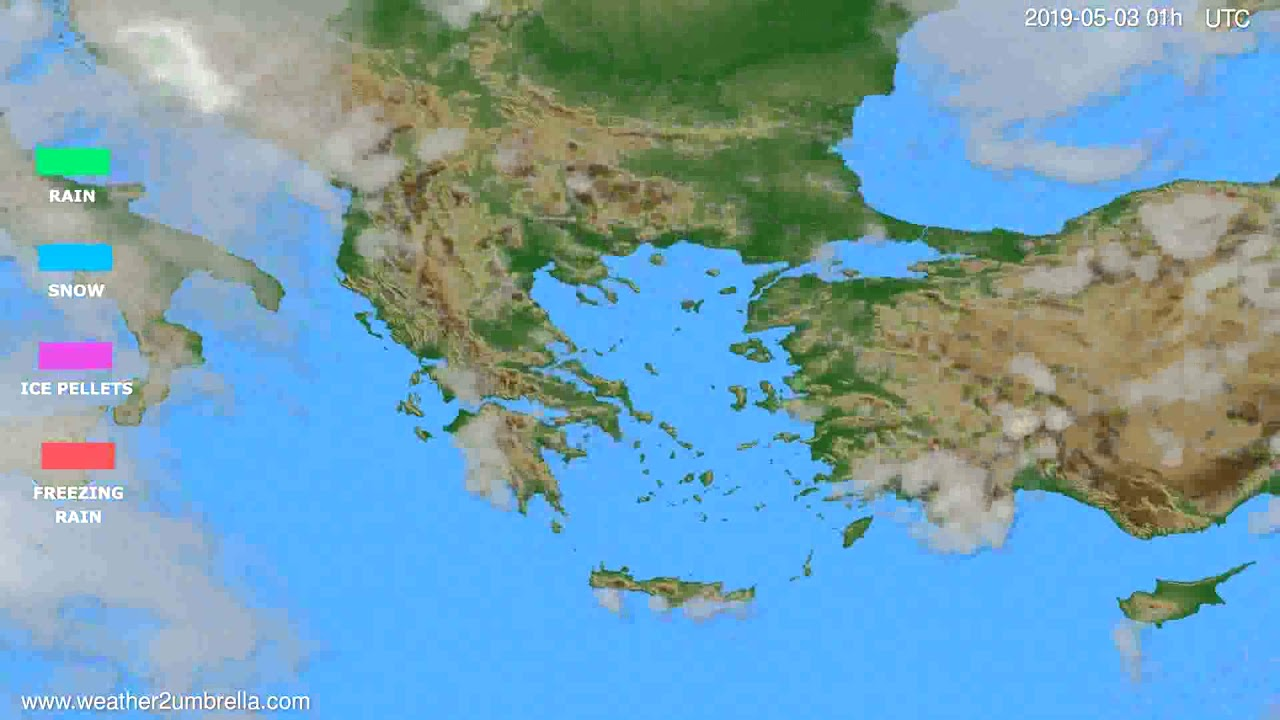 Precipitation forecast Greece // modelrun: 00h UTC 2019-05-01