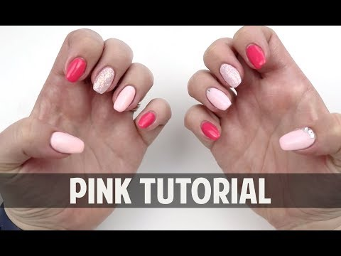 Gel nails - PINK ON PINK ON PINK GLITTER - Hard Gel Nail Tutorial