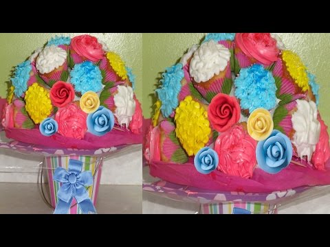 How to make Edible Cupcakes Flower Bouquet for Mother's Day by Bhavna