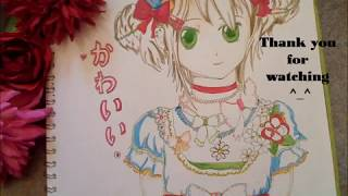 Draw a kawaii flower girl ~part 2: adding colour