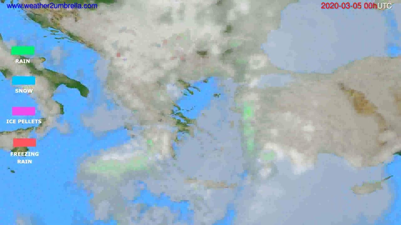Precipitation forecast Greece // modelrun: 00h UTC 2020-03-04