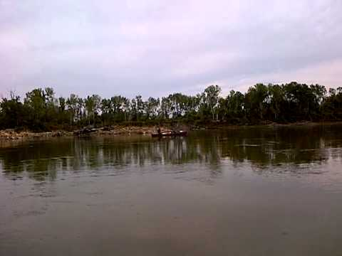 Missouri River Floatin' –  Chris working hard against the unpredictable currents. 2012
