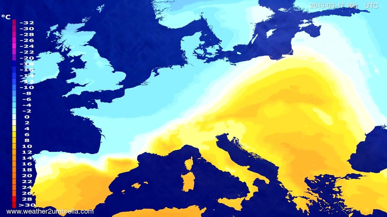 #Weather_Forecast// Temperature forecast Europe 2019-03-16
