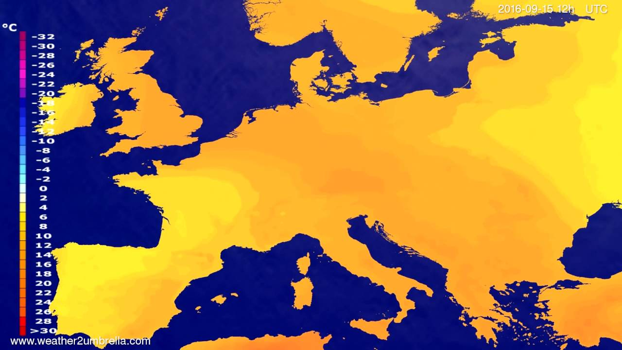 Temperature forecast Europe 2016-09-13