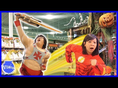 Halloween Shopping for Costumes ! Trying on Fortnite + Superhero Costumes !