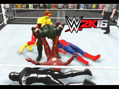 WWE 2K16 - THE FLASH Vs SPIDER-MAN Vs THE REVERSE FLASH Vs GREEN ARROW Vs ZOOM Vs KID FLASH
