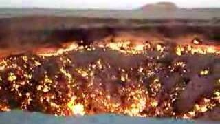 Video view 1 of 6 Total overview of the crater. The Darvaza area is rich in natural gas. While drilling in 1971 geologists...