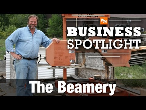 A Wood-Mizer LT15 portable sawmill makes it possible for The Beamery to saw long timber frame beams and valuable reclaimed lumber. http://www.thebeamery.com.