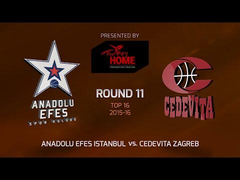 Highlights: Top 16, Round 11, Anadolu Efes Istanbul 80-76 Cedevita Zagreb