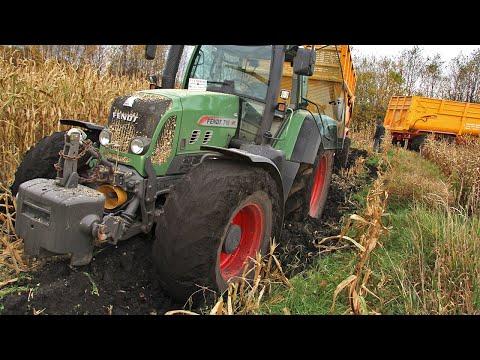 Modderen in de mais   Stuck in the mud   John Deere 6850   Mais hakselen   Maize   Corn   Schlamm
