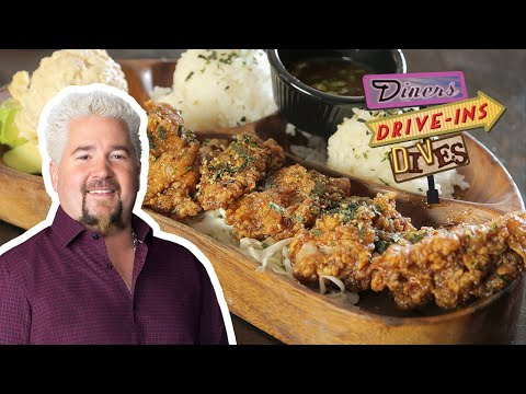 Guy Fieri Tries Hawaiian Garlic Furikake Chicken (from #DDD) | Food Network