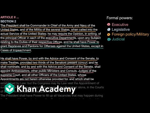 Formal And Informal Powers Of The Us President Video Khan Academy