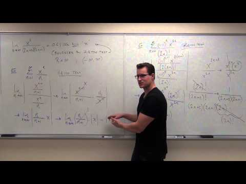 9.7 - Calculus 2 Lecture 9.7: Power Series, Calculus of Power Series, Using Ratio Test to Find Interval of Convergence.