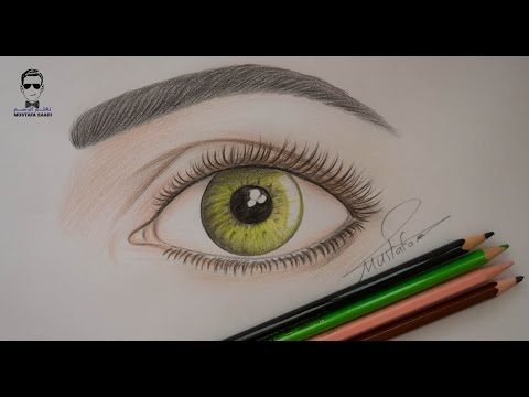 تعلم رسم العين وتلوينها بالالوان الخشبية