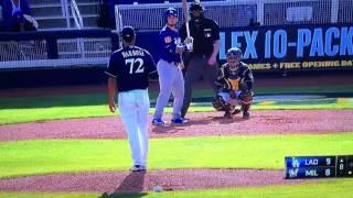 Alex Verdugo Home Run Dodgers Vs Brewers 2017 Spring Training