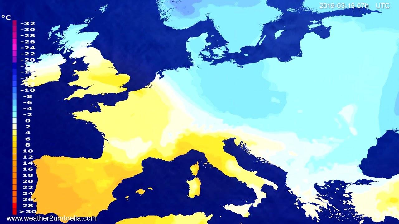#Weather_Forecast// Temperature forecast Europe 2019-03-13