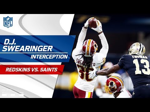 Video: D.J. Swearinger's Leaping INT Leads to FG! | Redskins vs. Saints | NFL Wk 11 Highlights