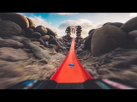 First Person POV Video From A Hot Wheels Car Going Down A Beach