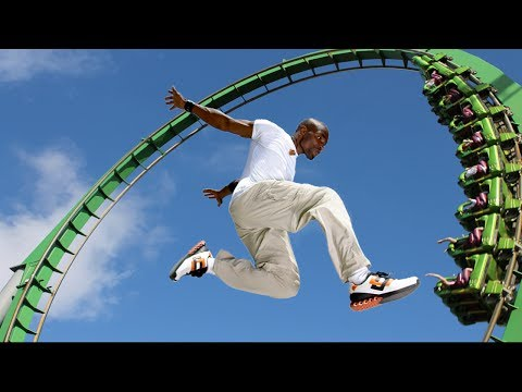 Parkour at theme park.