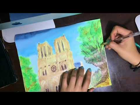 Notre Dame Cathedral- cartoon doodle/ drawing