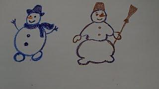 Учимся рисовать снеговика