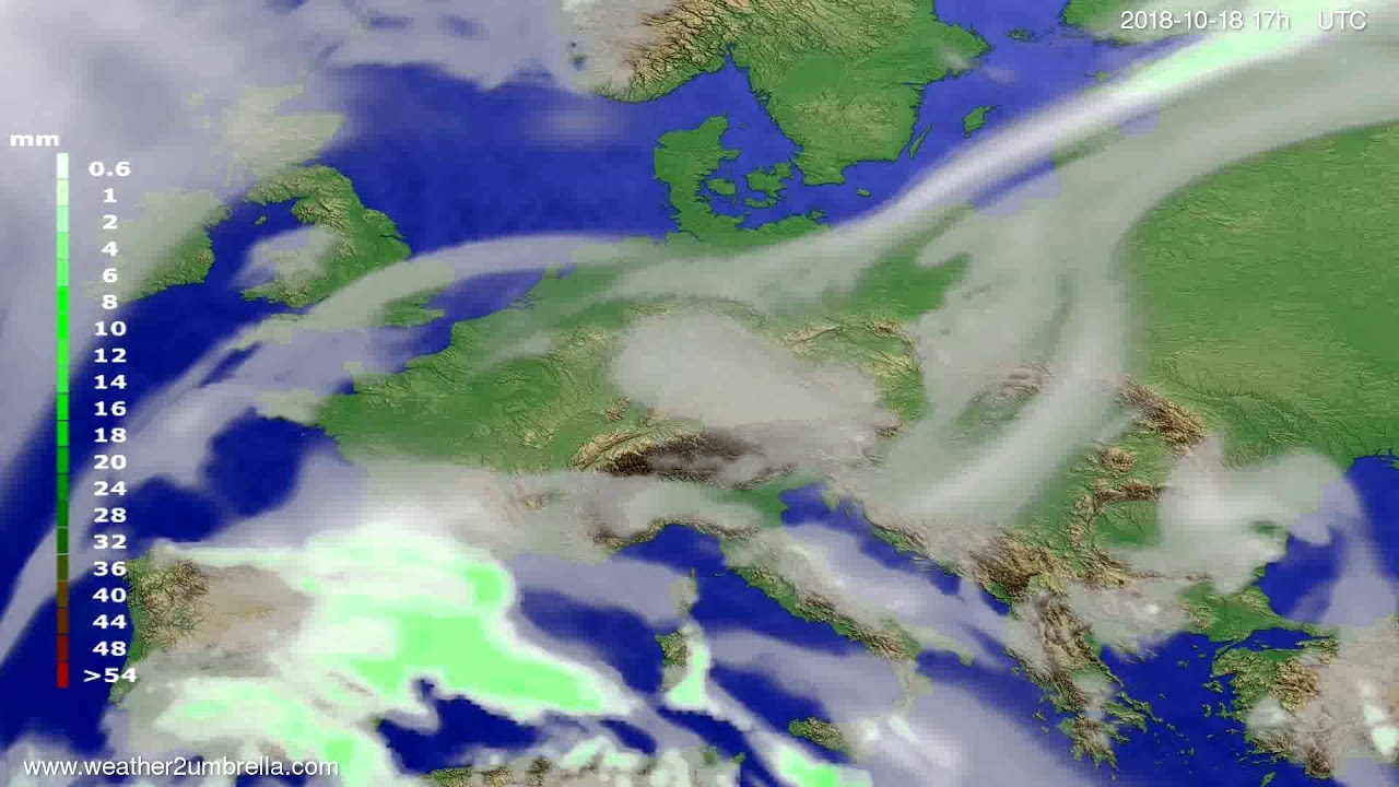 Precipitation forecast Europe 2018-10-16
