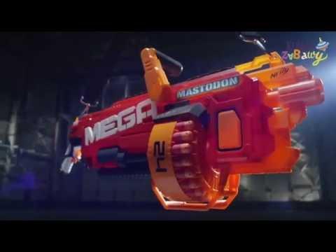 Hasbro Nerf N-Strike - Wyrzutnia MEGA Mastodon B8086 - www.krainazabawy.pl видео
