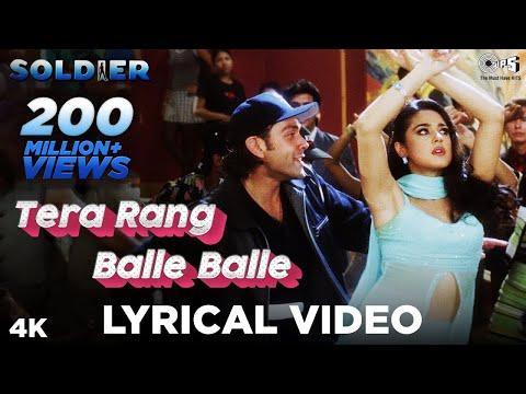 Tera Rang Balle Balle Lyrical   Bobby Deol   Preity Zinta   Jaspinder Narula   Sonu Nigam   90s Hits