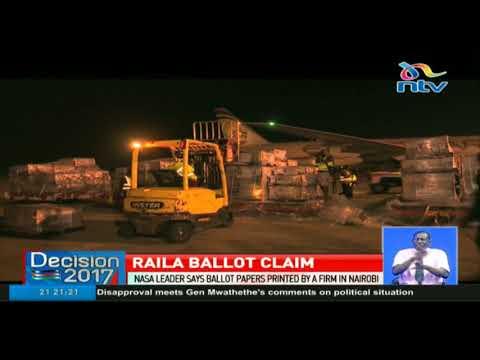 Nasa leader Raila Odinga claims ballot papers were printed in