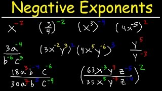 This algebra math video tutorial explains how to simplify negative exponents in fractions with variables and parentheses.  It discusses the basic properties of negative exponents and how they work.  it provides a nice introduction into the topic.  This video contains plenty of examples and practice problems for you to work on.