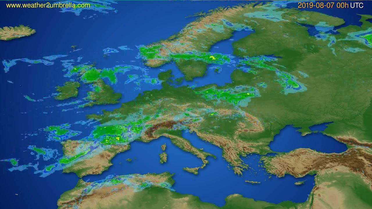 Radar forecast Europe // modelrun: 12h UTC 2019-08-06