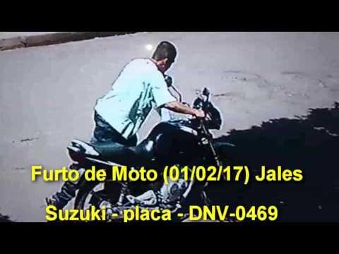 Jales - Larápio furta moto em Jales, e câmeras filmam -Suzuki Placa - DNV-0469