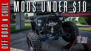 In this video I will show you 3 Jeep wrangler mods that you can do to your jeep under $10 each, sometimes we want to customize our Jeep wrangler and putting cheap jeep wrangler mods sometimes is not an option so I will show you this 3 Easy jeep wrangler JK mods that you can buy under $10, Please share this video and Subscribe.JEEP WRANGLER FRAME PLUGhttps://goo.gl/74RVPPJEEP WRANGLER ANTENNAhttps://goo.gl/Z3qqEWJEEP WRANGLER HARD TOP QUICK RELEASE KIThttps://goo.gl/a8NnXSFollow us on:Facebook: ( https://www.facebook.com/OffRoadnchill )Instagram: ( https://www.instagram.com/offroadnchill )Twitter:  ( https://twitter.com/OffRoadnChil  )