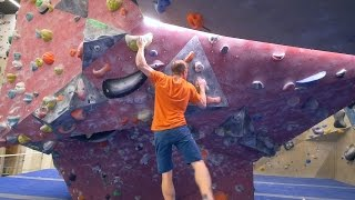 Peter Is Jumping And Pinching On Big Holds by Eric Karlsson Bouldering