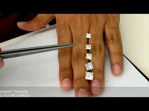 Princess cut diamond size comparison on hand 1ct untill 3 ct- Hindi