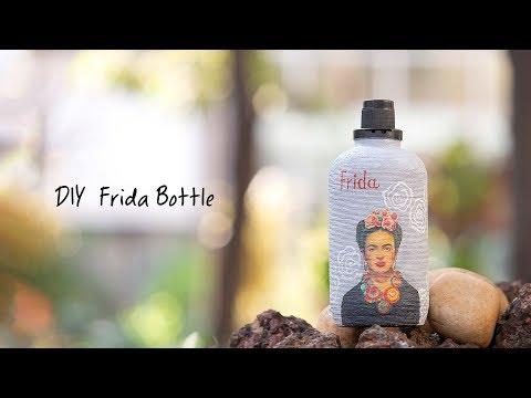 DIY Frida Bottle - Decoupage Art