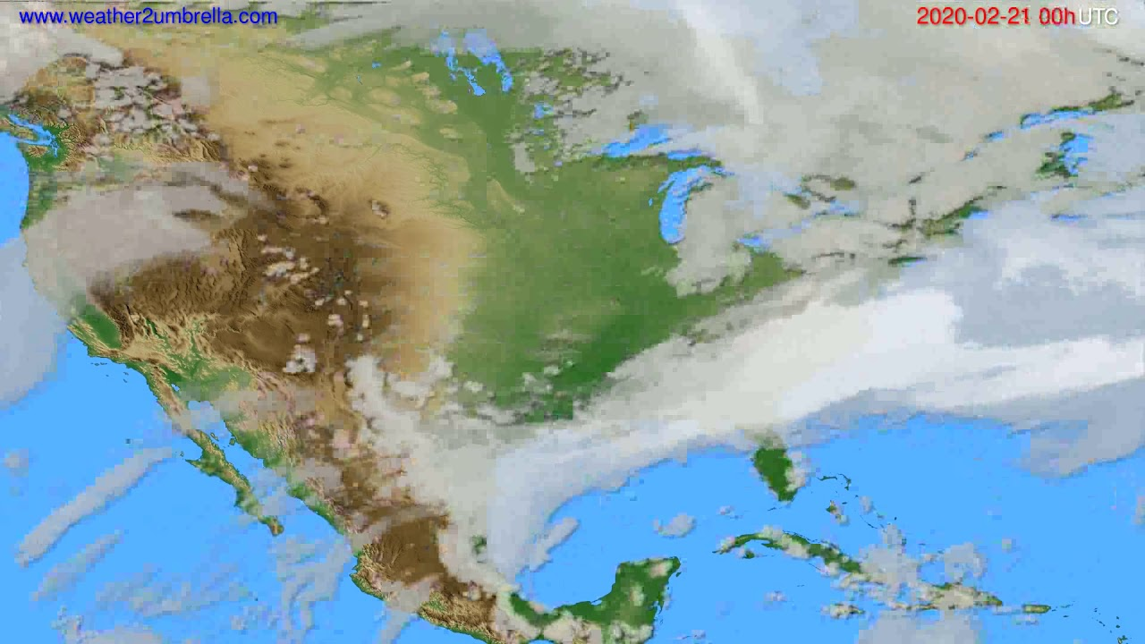 Cloud forecast USA & Canada // modelrun: 00h UTC 2020-02-20