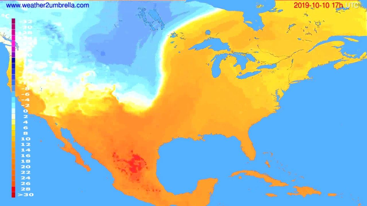 Temperature forecast USA & Canada // modelrun: 00h UTC 2019-10-09