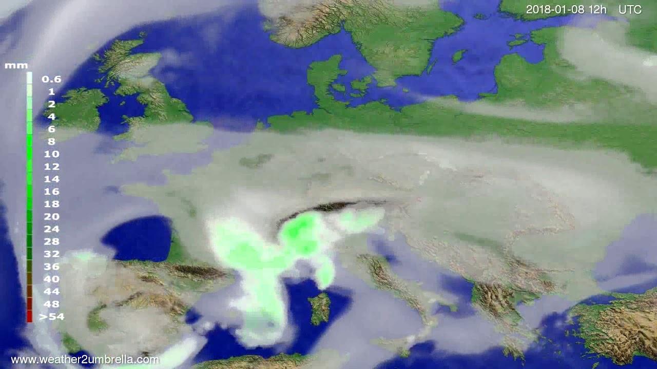 Precipitation forecast Europe 2018-01-06