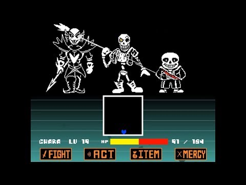 [unitale,CYF] Disbelief papyrus full battle!&Some easter eggs [undertale fangame]