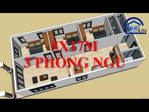 Sơ đồ bố trí mặt bằng nhà cấp 4 diện tích 7x15m có 3 phòng ngủ - Nhà đẹp Dakcun