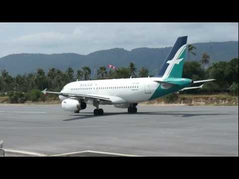 Take off from Koh Samui (VTSM) Airport, Silk Air, Airbus 319, Thailand