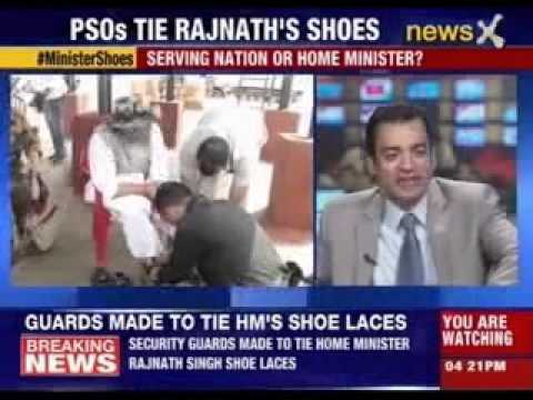 Rajnath Singh caught in controversy makes jawan tie his shoe laces