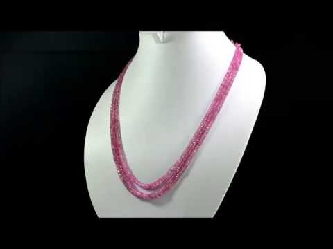 Natural Faceted Pink Ruby 220ct 3mm Size Gemstone Beads Necklace