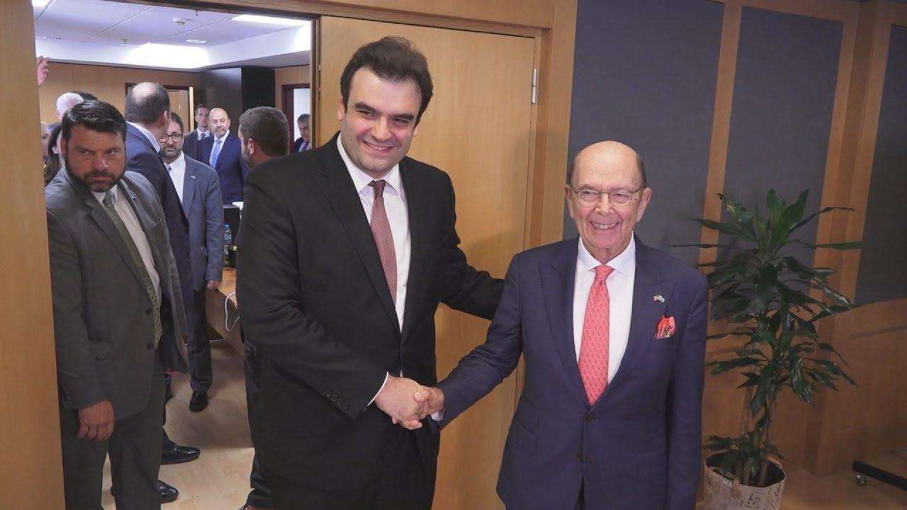 Συνάντηση του Κυριάκου Πιερρακάκη με τον υπουργό Εμπορίου των ΗΠΑ Wilbour Ross